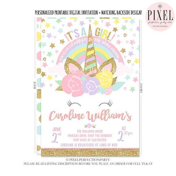 Unicorn Baby Shower Invitation Pink Gold Magical Unicorn Baby Shower