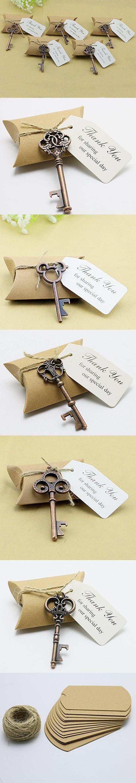 50pcs Wedding Favors Candy Box w/ Antique Skeleton Key Bottle ...