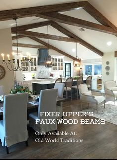 Faux wood beams from fixer upper magnolia homes hand for Old world traditions faux beams