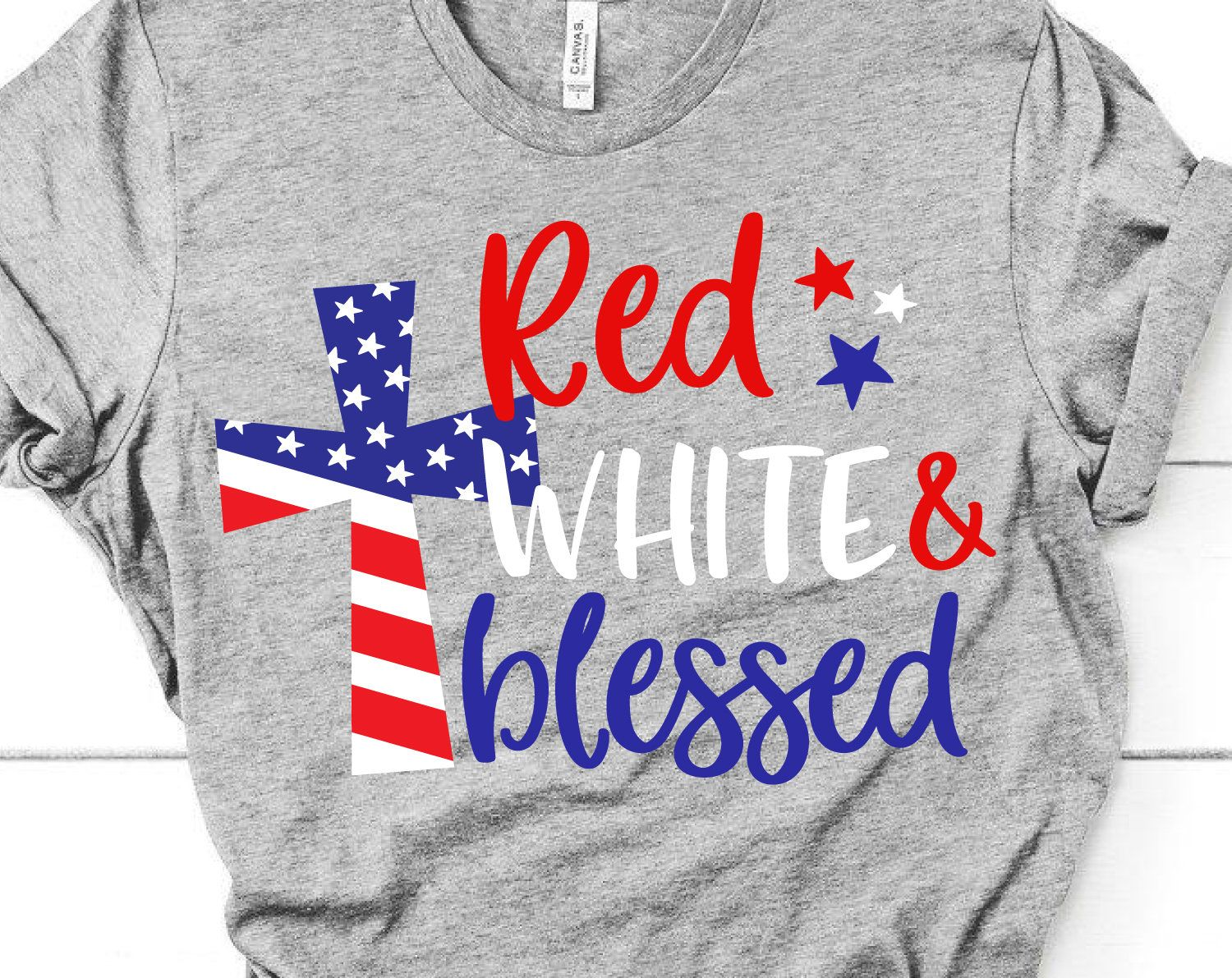 4th of July Svg, Red White and Blessed Svg, American Cross