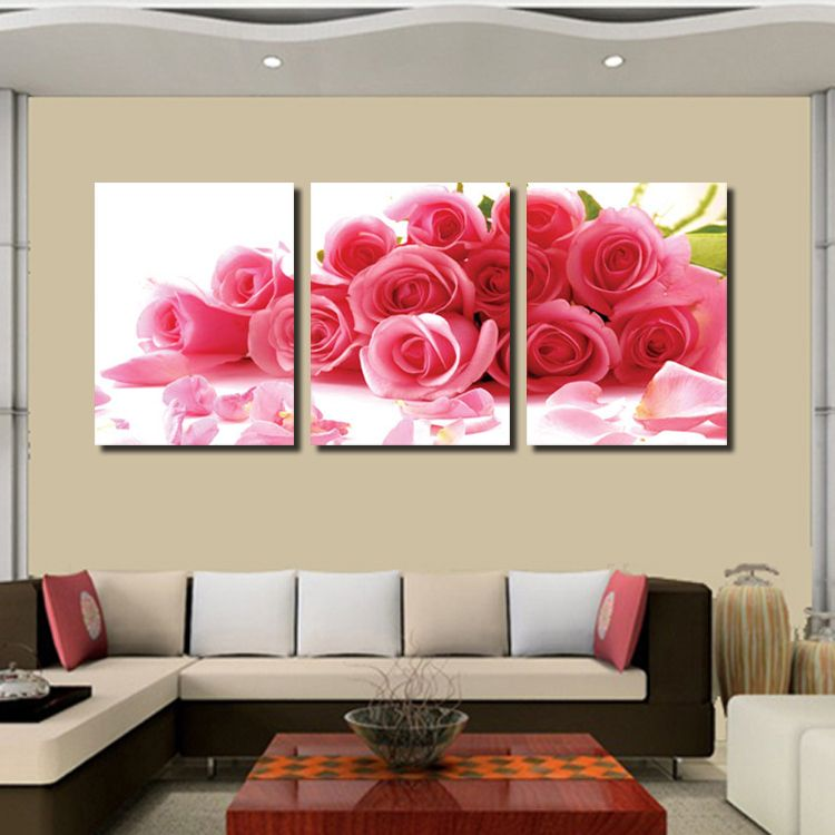 3 Pieces/set Wall Art Romantic Roses Canvas Painting Home Decoration ...