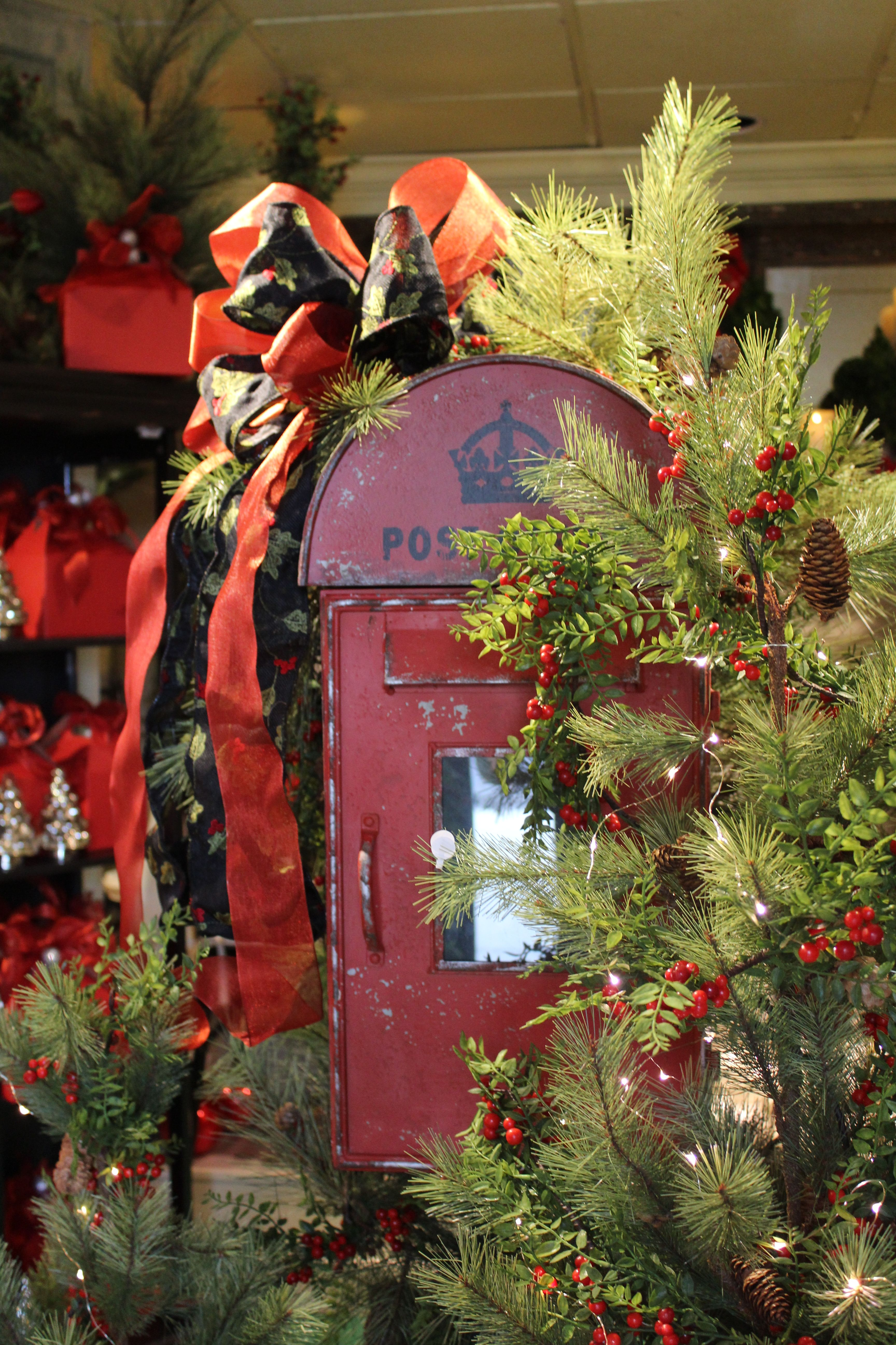 Letters for santa a mailbox for the north pole decked