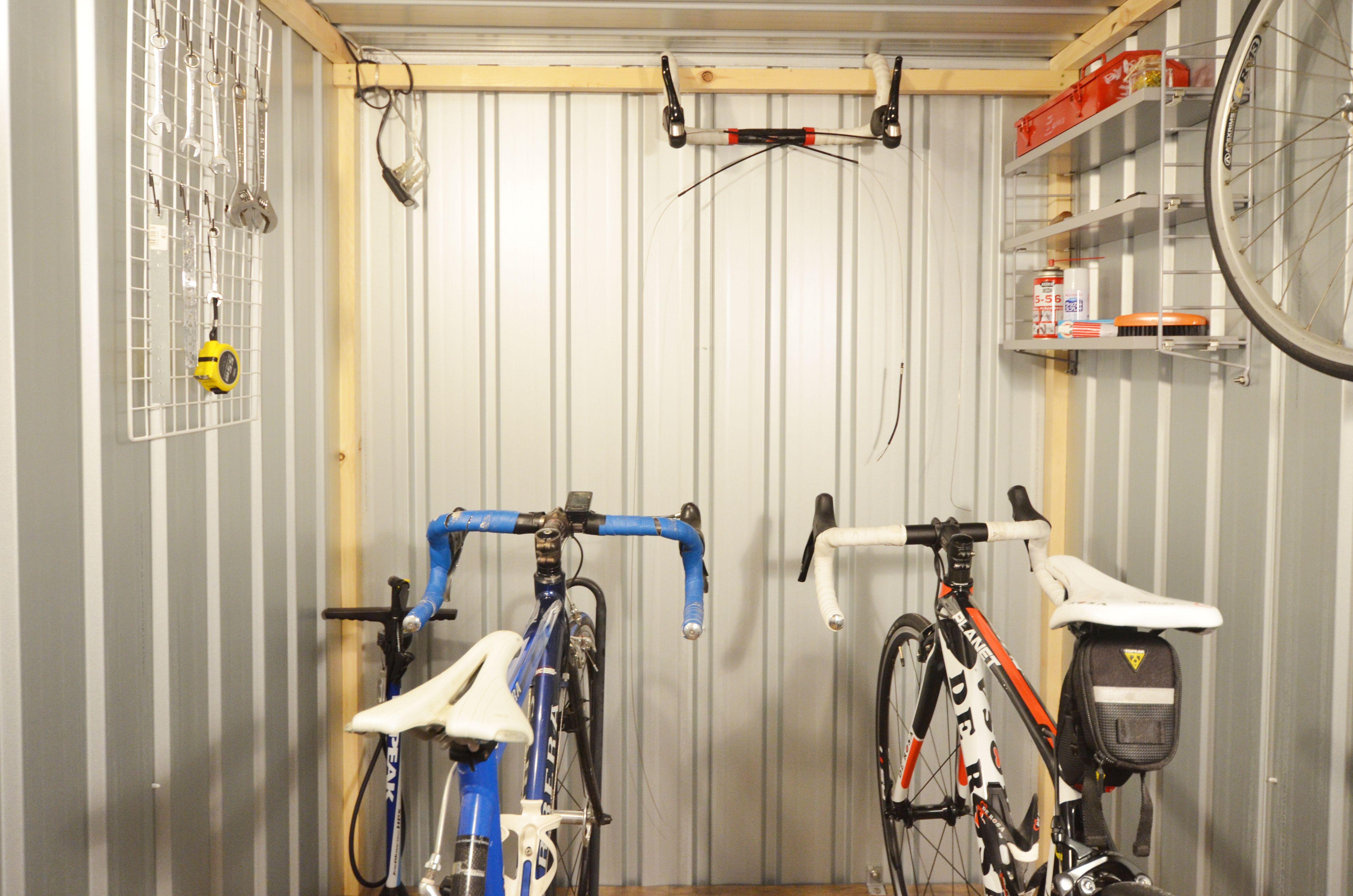 小屋で自転車ガレージを作るとこうなる 自転車小屋 小屋作り ユーロ物置