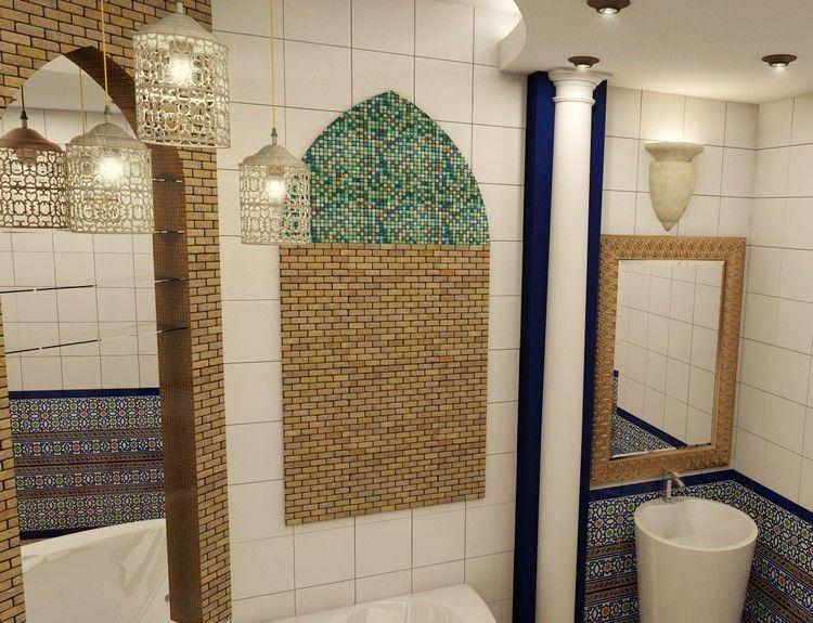 décoration orientale dans la salle de bain : mosaïque murale ...