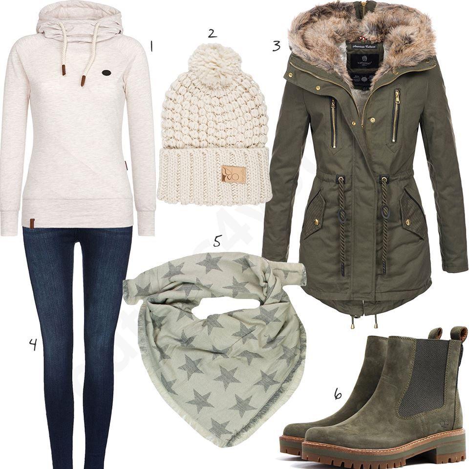Beige Grünes Winteroutfit mit Winterjacke und Mütze | Outfit