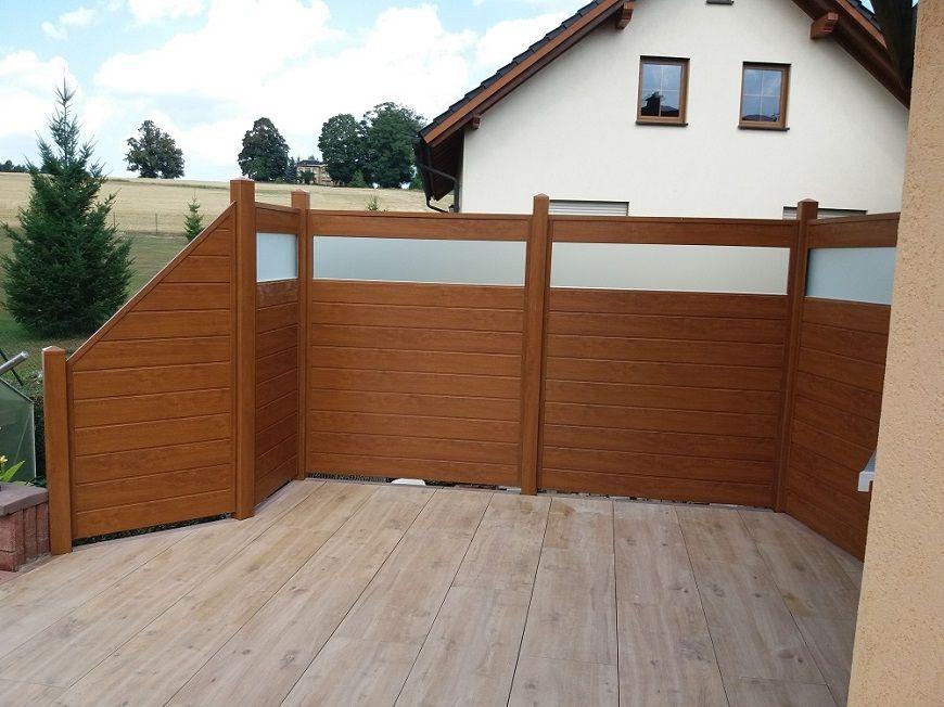 Sichtschutz PVC in Holzoptik Golden oak auf Terrasse