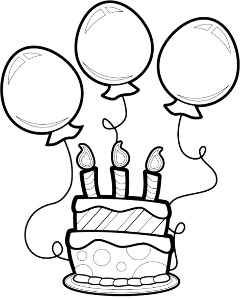 Birthday Cake And Balloons Coloring Sheet Birthday Balloons Clipart Birthday Coloring Pages Balloon Clipart