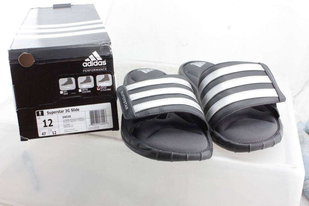 watch ceefa d2cc8 Adidas Superstar 3G Black Slides Athletic Sport Sandals ...