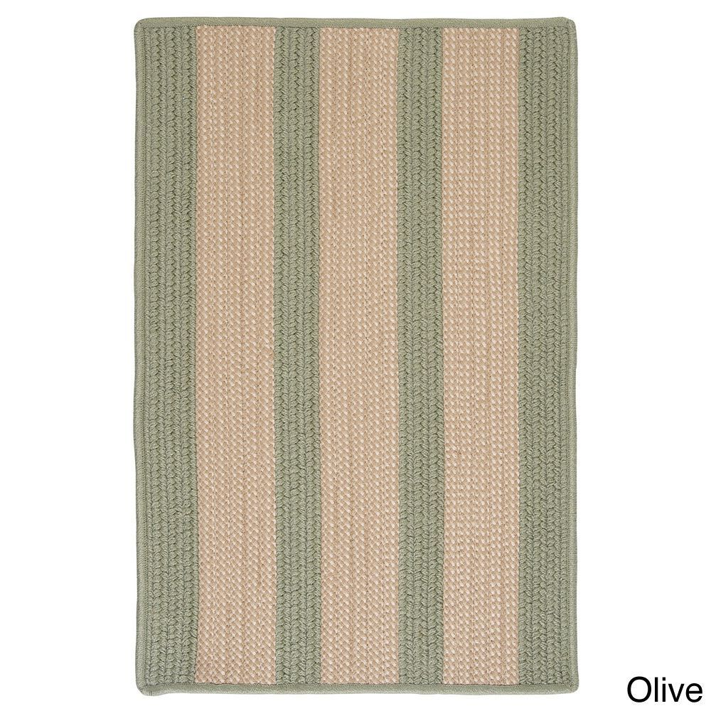 CMI Light House Natural Stripe Reversible Outdoor Rug (3' x 5') (Light House Olive 3 x 5 Rug), Green, Size 3' x 5' (Olefin, Border)