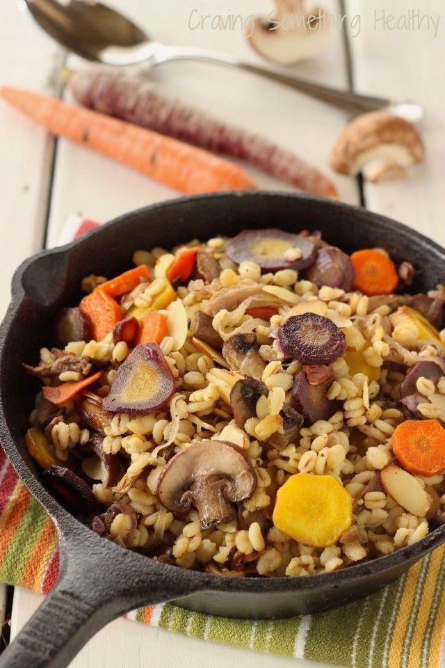 Warm Barley Mushroom Salad| Healthy comfort food | via @AnneDanahyRD