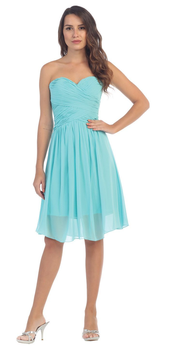 a8da57d642d6 Starbox USA S6127 Sweetheart Neck Ruched Bodice Chiffon Tiffany Blue Knee  Length Bridesmaids Dress