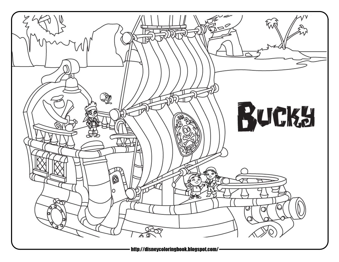 Pirate colouring pages to print - Jake And The Never Land Pirates Pirate Ship Coloring Pages Bucky