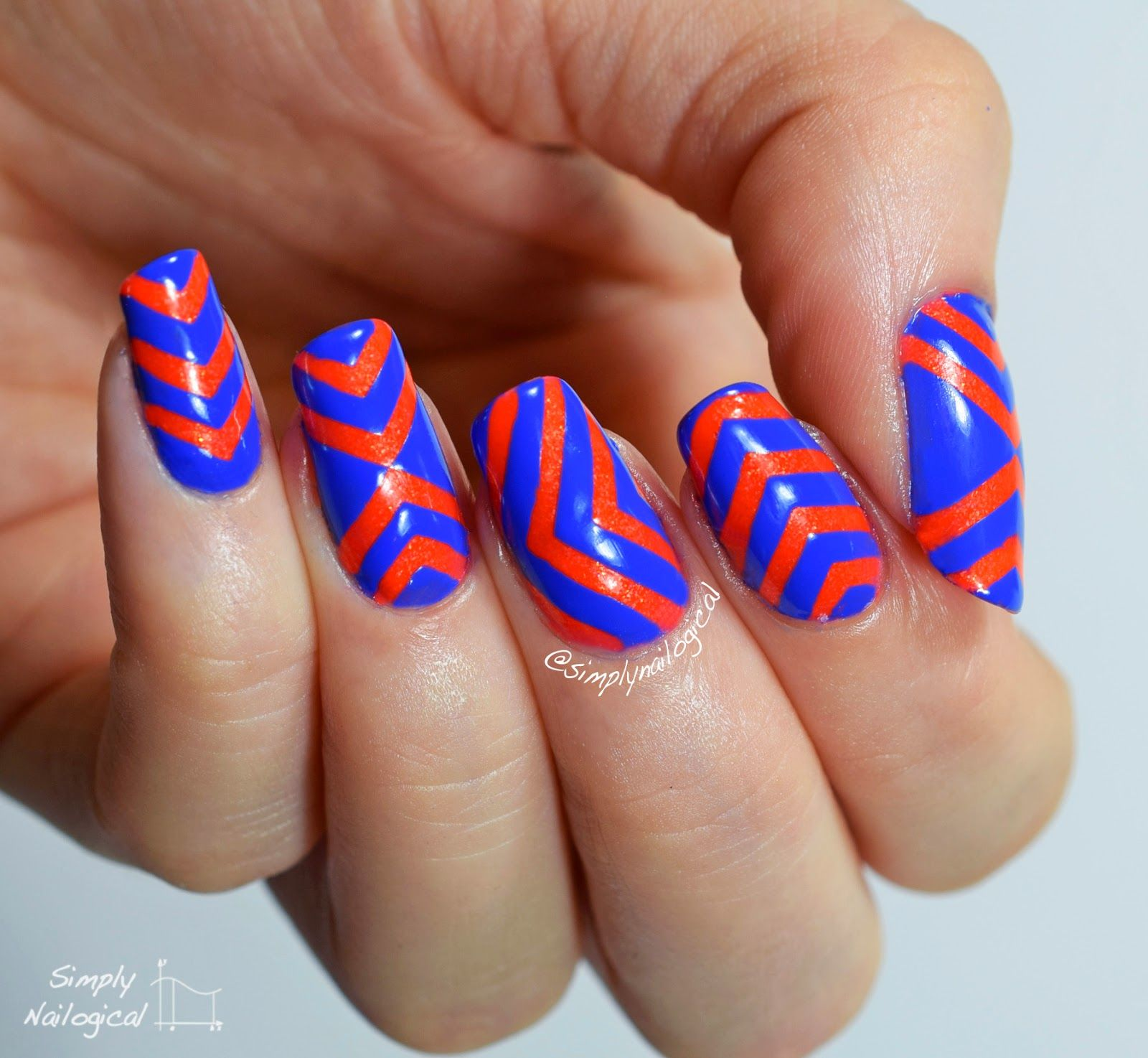 Simply Nailogical Nail Art: Saving Pacific Blue By The Chevron By Simplynailogical