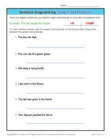Diagramming Sentences Worksheets: Subject and Predicate | Grammar ...