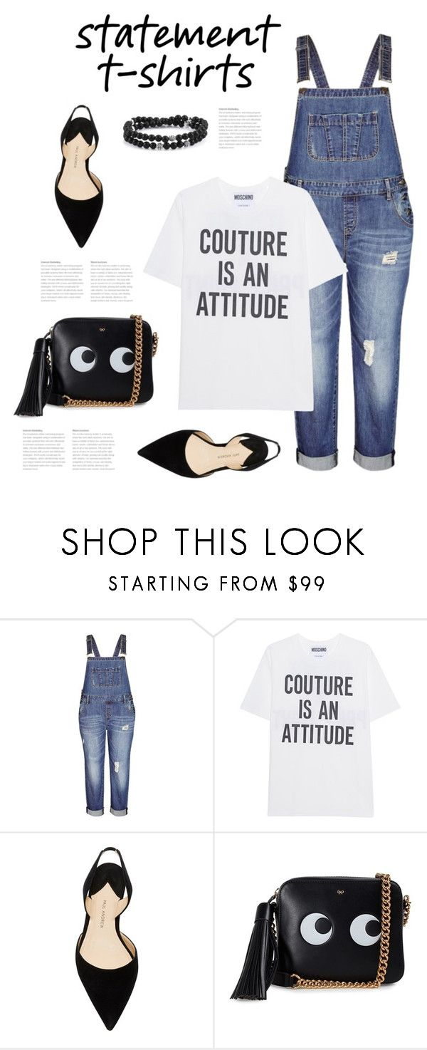 """Say What: Statement T-Shirts"" by bliznec ❤ liked on Polyvore featuring City Chic, Moschino, Paul Andrew, Anya Hindmarch, polyvoreeditorial, polyvorecontest and statementtshirt"