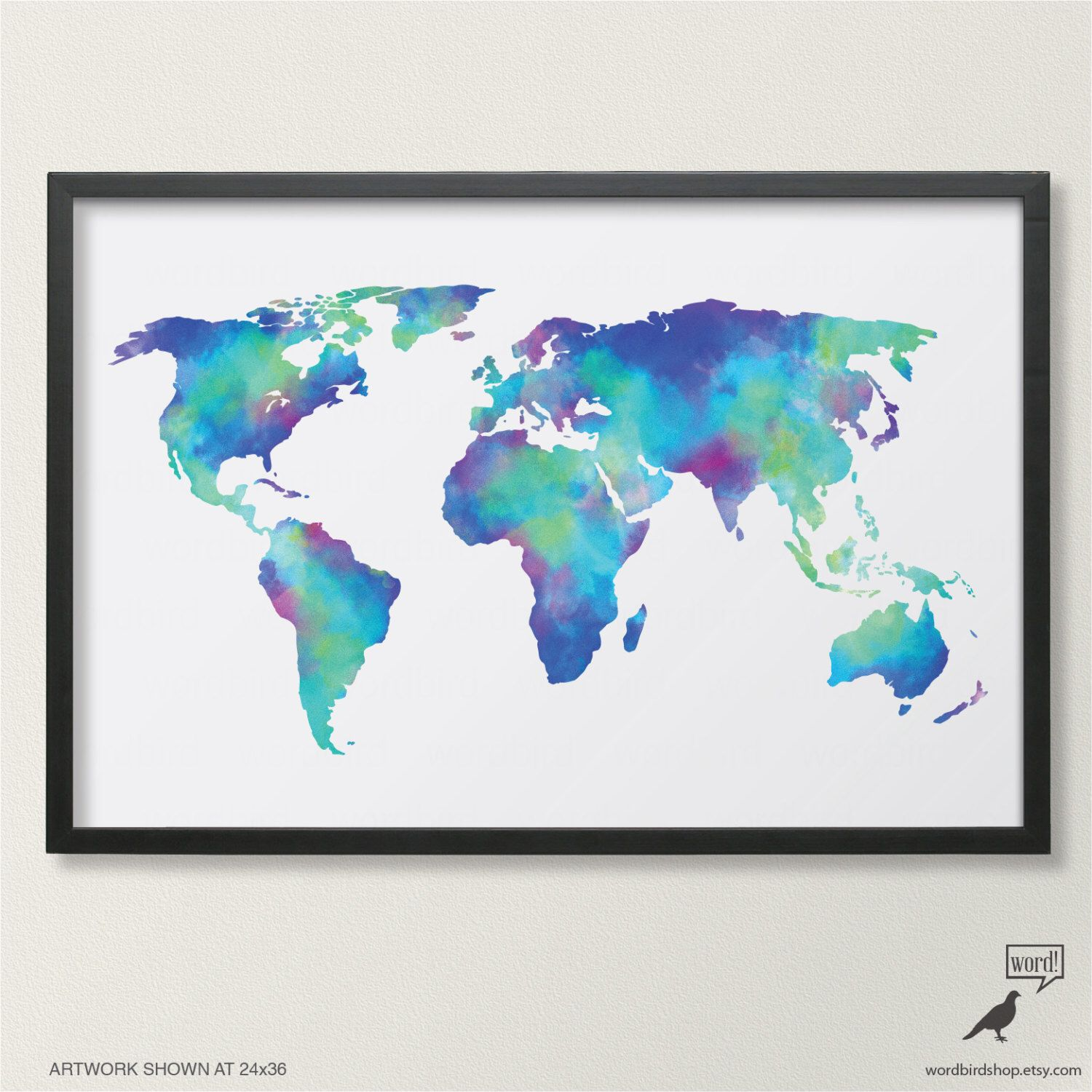 Watercolor map of the world in navy blue indigo teal cobalt watercolor map of the world in blue in sizes up to 24x36 world map poster gumiabroncs Choice Image