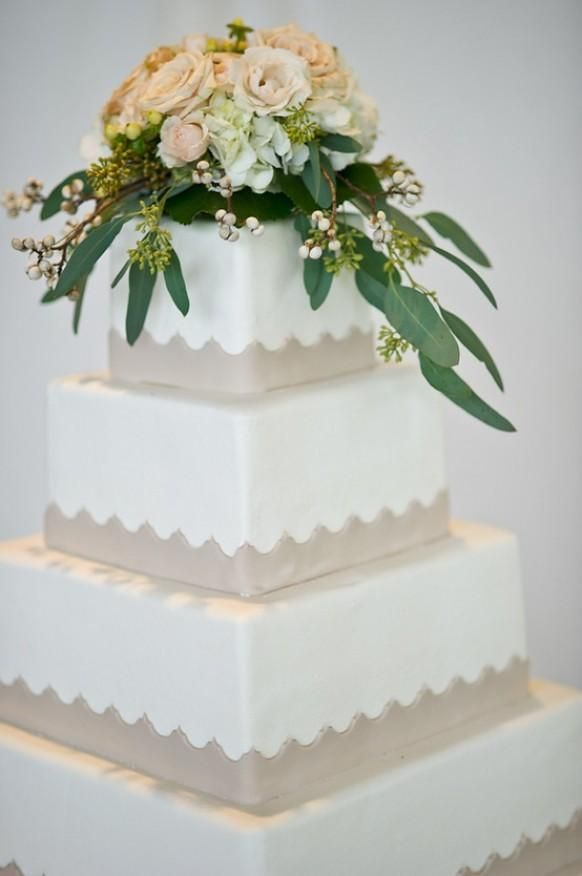 Wedding Cake---Sleek - with a touch of tradition