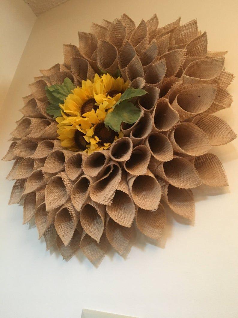 Photo of Large natural burlap sunflower wreath, sunflower wreath, burlap flower wreath, spring wreath, summer wreath, autumn wreath, front door wreath