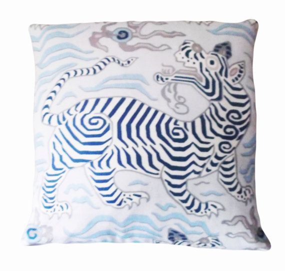 "This Clarence House Tibet Dragon Tiger Decorative Pillow Cover is a Mesmerizing, Very High End Novelty Accent Pillow, that Showcases the ..""TIBET PRINT - PALE BLUE"".. Print Designer Pattern.   This Pattern Features a Traditional Tibetan Motif of a Mythological Hybrid Creature that has the Head of a Dragon and the Body of a Tiger. In the East Asian Culture, the Dragon Symbolizes Wisdom and Thunderous Enlightenment, whereas, the Tiger, which is Held in Very High Esteem, Symbolizes Fierce…"