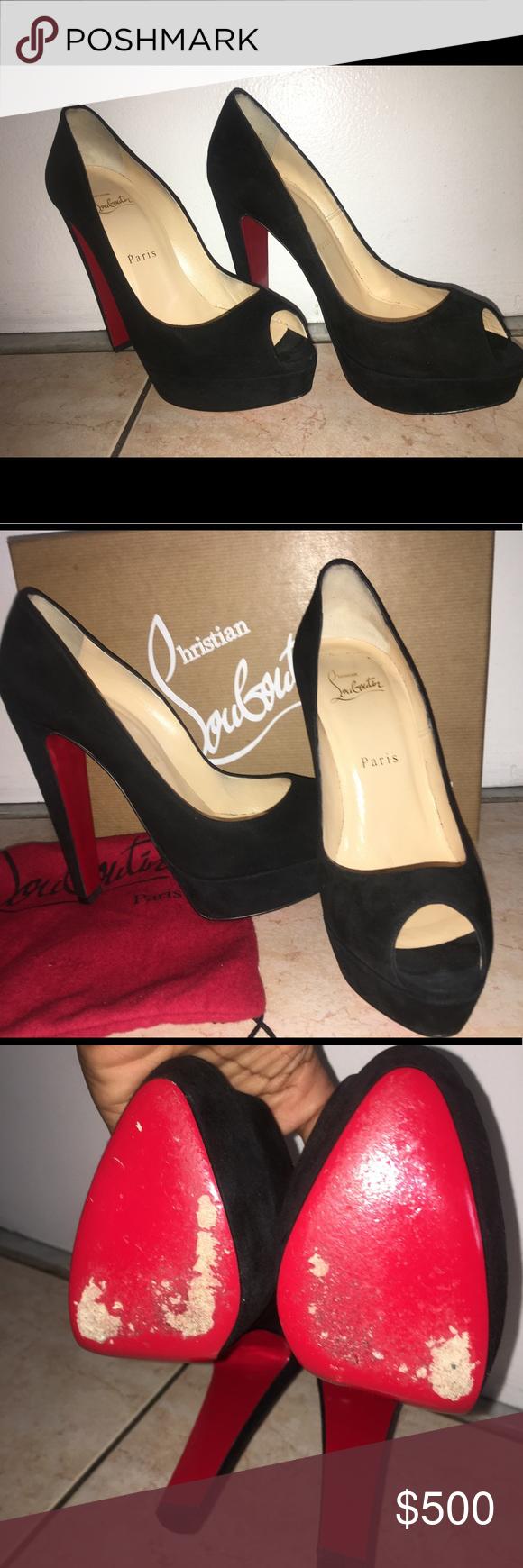 online retailer 74b11 946ea Christian Louboutin Altanana 140 Black Suede Peep Toe Pump ...