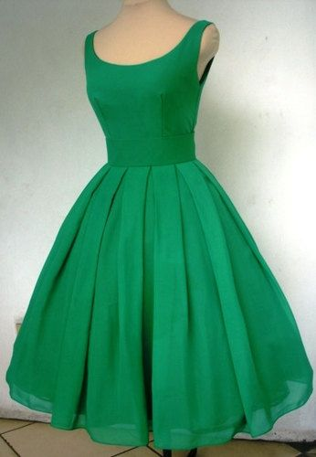 Tea Length 50s Style Dress In Emerald Chiffon Made To