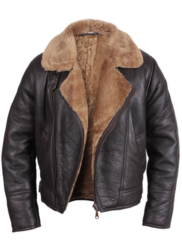 669ef3213301 Bomber Flying Jacket Mens Aviator Ginger Brown Real Shearling Sheepskin  Leather