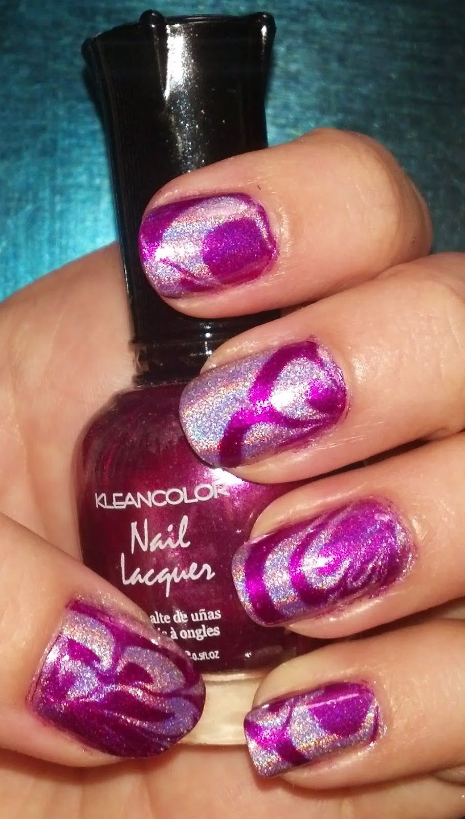 Water Marble Nail Art in Fuchsia Holographic Video Tutorial   Water ...