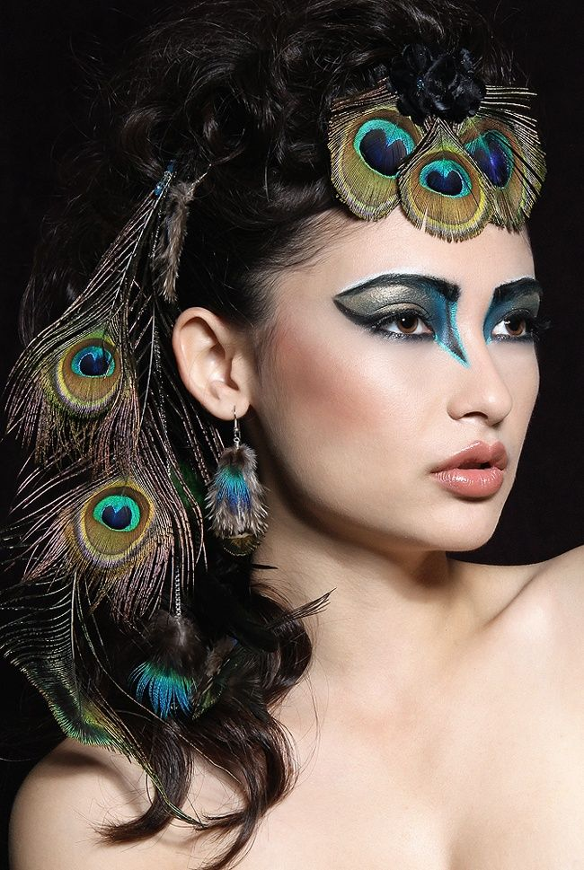 peacock eye feather hair - Google Search