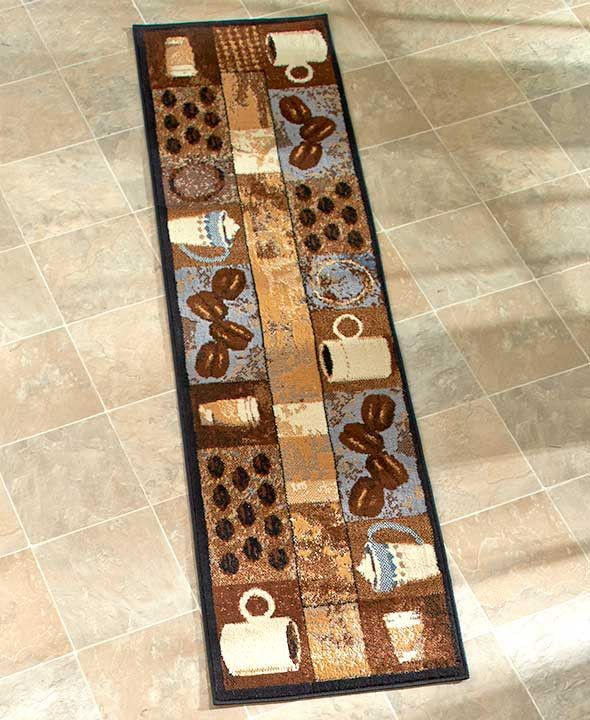 Coffee Themed Kitchen Rugs Accent Runner Area Stain ...