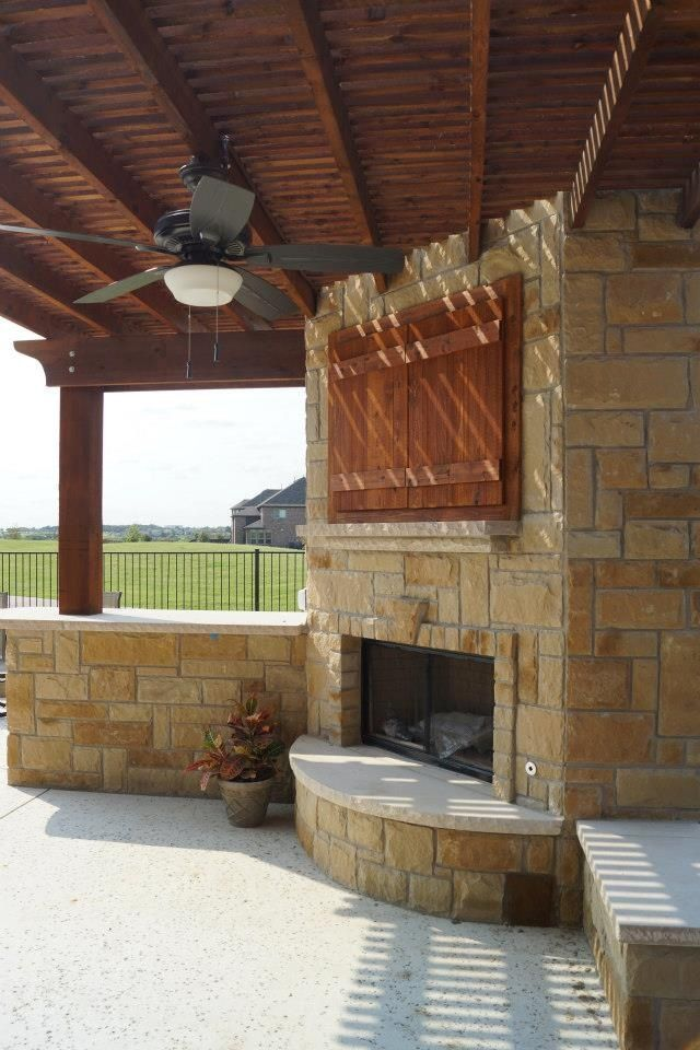 Stone fireplace with Arbor