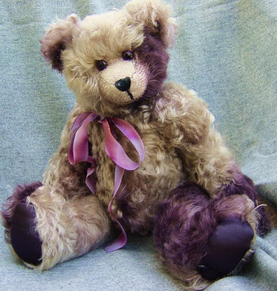 Mohair specialty violet & silver teddy bear