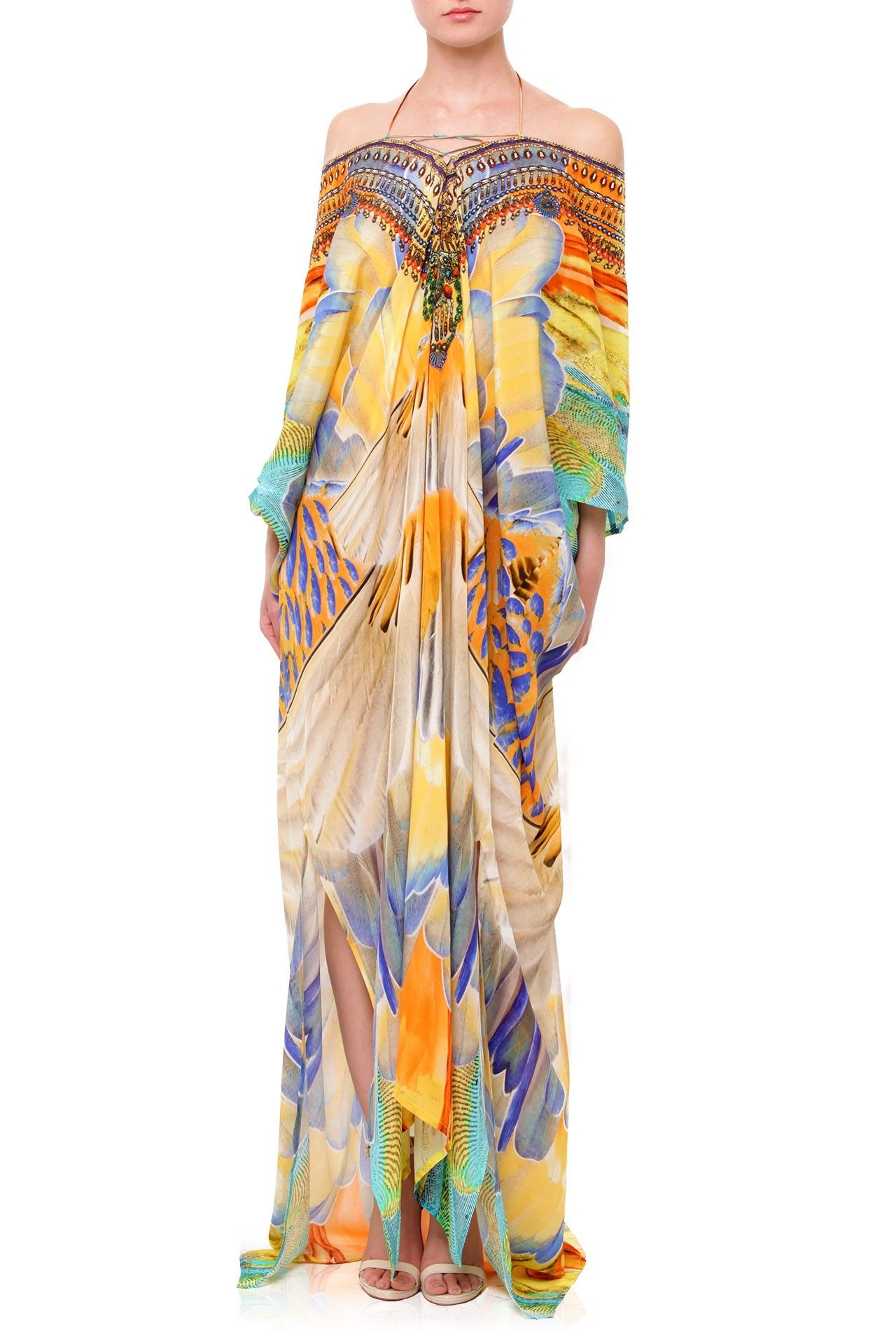 Champagne feather print kaftan dress beach fashion pinterest