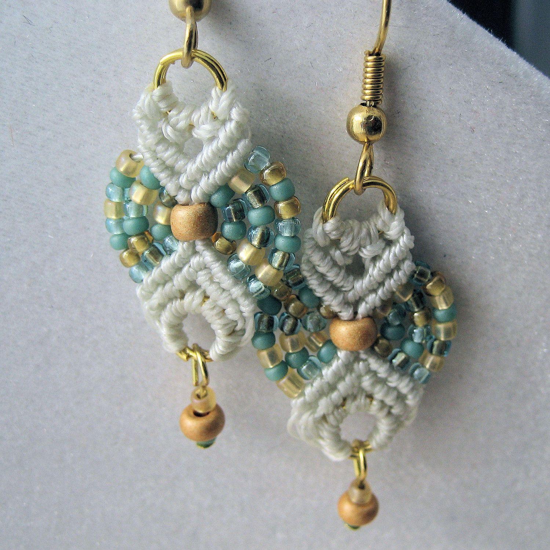 Beachy Colors Beaded Macrame Earrings