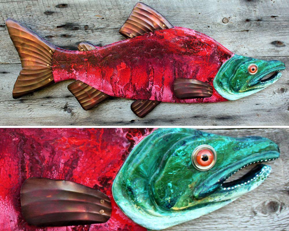 Sockeye Salmon Folk Art Wall Sculpture Large Fish Wall Art Etsy Folk Art Fish Fish Wall Art Fish Sculpture