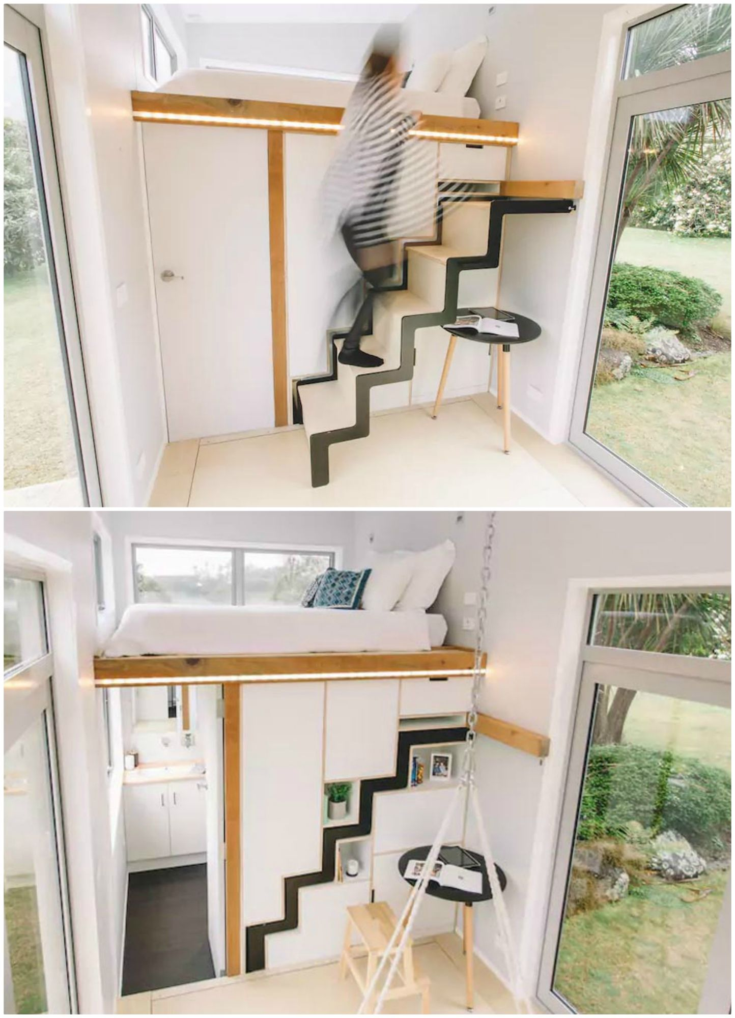 The Millennial tiny house features an ingenious retractable ... on tiny homes with staircases, tiny art, tiny prefab homes, tiny bedroom, tiny log homes, tiny homes inside and outside, tiny modular homes, small box type house designs, tiny compact homes, tiny plans, tiny fashion, tiny custom homes, loft small house designs, tiny room design ideas, tiny interior design, tiny kit homes, tiny house, tiny portable homes, mini bungalow house plans designs, tiny books,