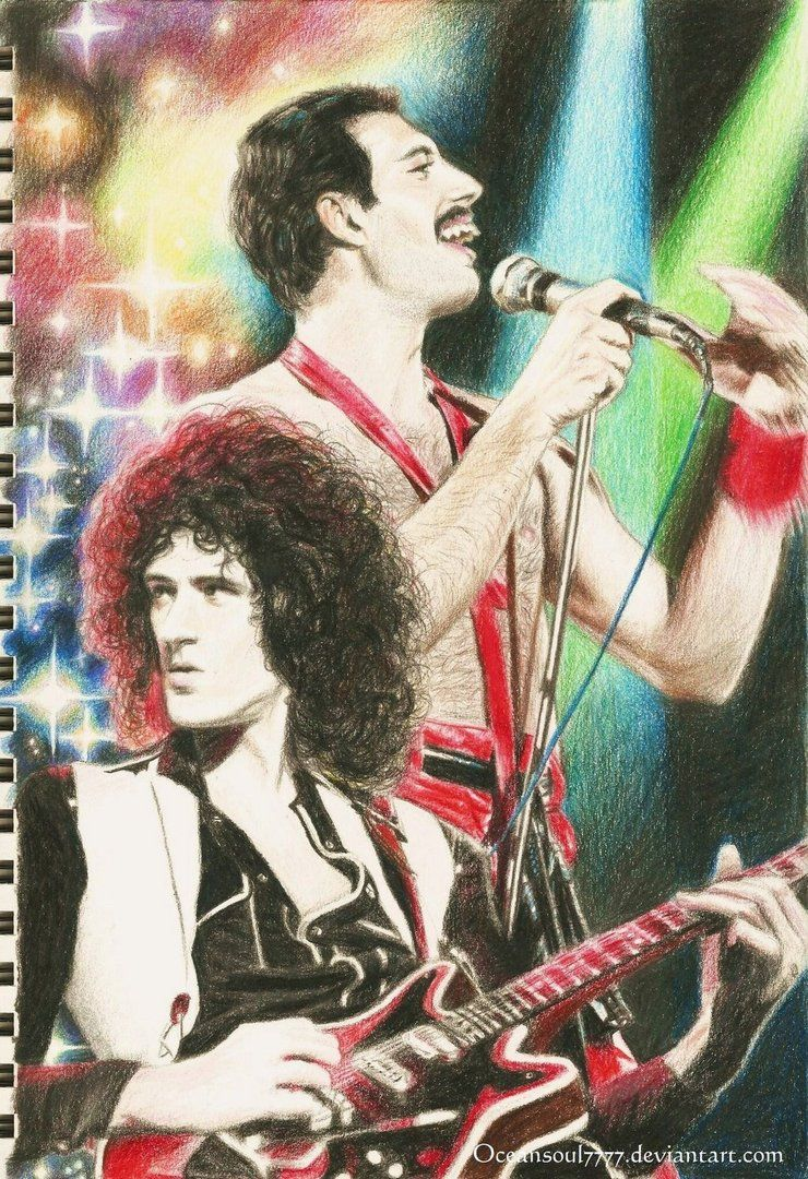 My Little Tribute To Freddie Mercury And Brian May There Is The Whole Process Sorry I Didn T Draw John And A Kind Of Magic Freddie Mercury Queen Art