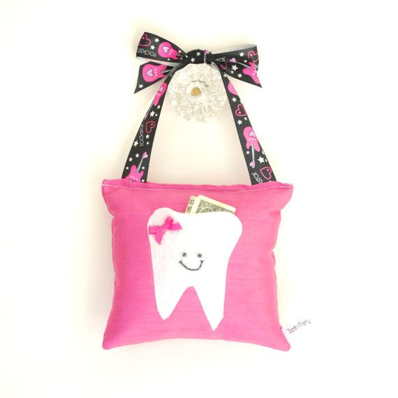 Girls Tooth Fairy Pillow in Hot Pink with by ToothFairyPillowShop, $18.00