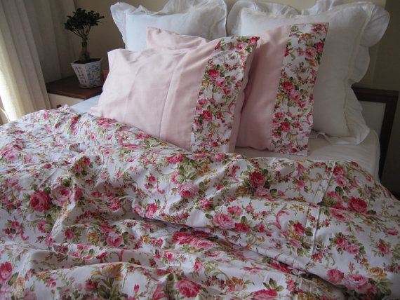 Blue Brown Floral Duvet Cover Roses Print Queen Super Oversized