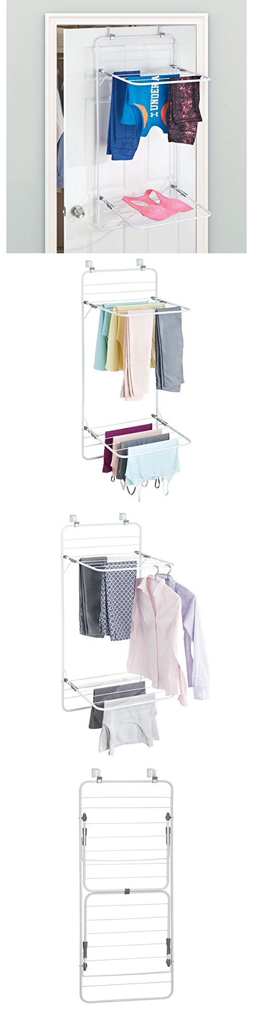 Clotheslines and laundry hangers over door rack laundry room