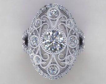 Art Deco Engagement Ring 14k Gold Round 6.5mm Bezel Set Round Forever Brilliant Moissanite & Round Diamonds Filigree Art Deco Wedding Ring