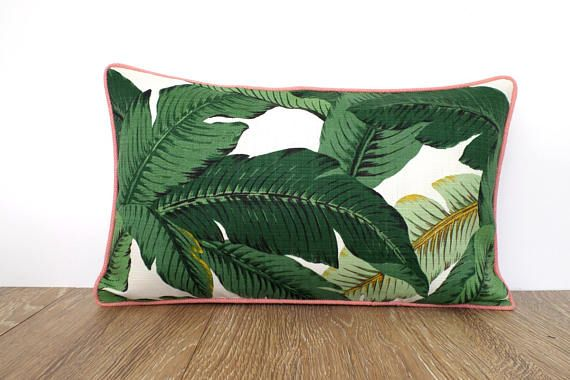 Palm Leaf Pillow Cover 18x18 Beverly Hills Decor Green Outdoor