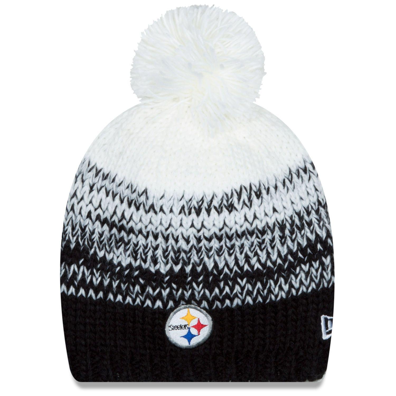 Women s Pittsburgh Steelers New Era Black Polar Dust Uncuffed Knit Beanie  with Pom 9bf5413d972e