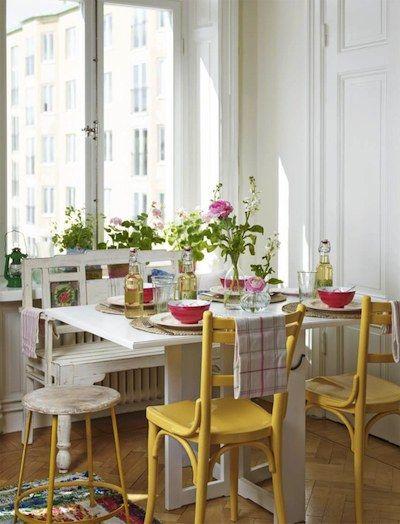 chaises de cuisine peintes en jaune | - dining- | Pinterest ...
