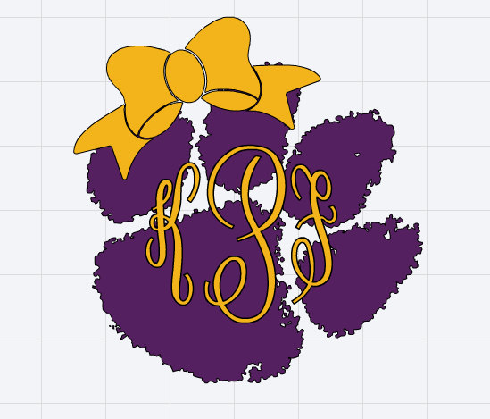 Tigers Print Monogrammed Bow Decal Tiger Paw LSU with  |