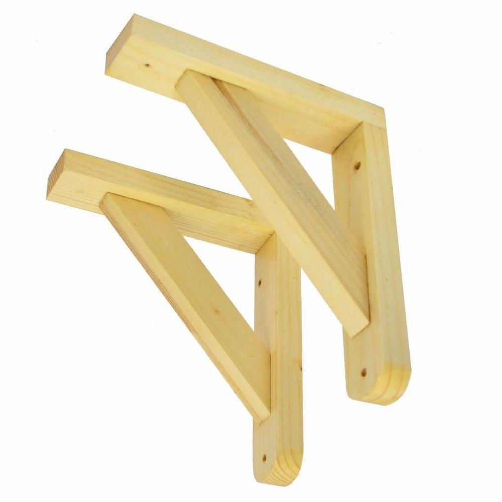 Set  2 Wooden Shelf Brackets Rack Support Pair