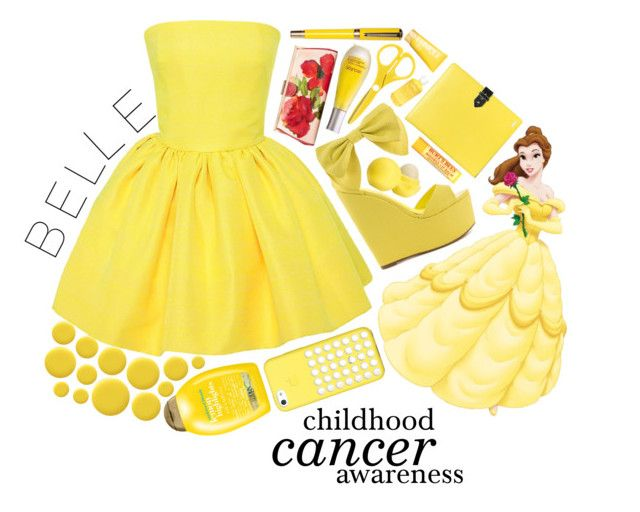 """""""Belle: Childhood Cancer Awareness"""" by musicmolly ❤ liked on Polyvore featuring Martin Grant, Privileged, Patricia Nash, Hayden-Harnett, Decléor, Eos, Burt's Bees, Clinique, Aveda and Organix"""