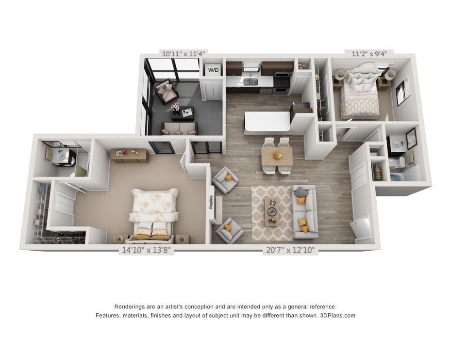 3d Furnished House Floor Design Sims House Plans Apartment Floor Plans