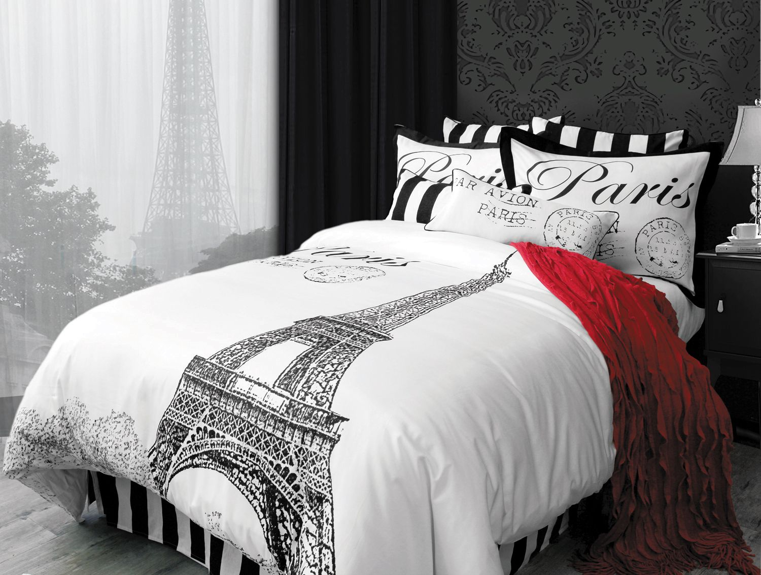 a fabulous trip abroad is waiting for you as you cover your bed with the beautiful paris inspired pattern the large eiffel tower