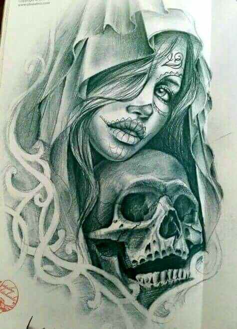 Santa Muerte Girl Tattoo Tatuaże Tatuaż I Rysunki Czaszek