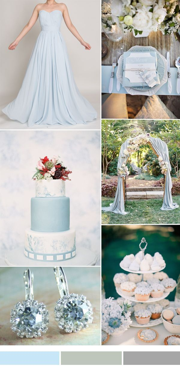 pale blue wedding color and decoration ideas and bridesmaid dresses